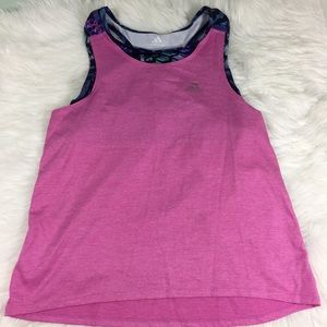 Adidas Girls Pink and Purple Athletic Tank XLarge